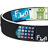 Running Belt (Black, Medium) - Premium Fitness Waist Pack - Best Fit for Large Phones including iPhone 7 plus & Samsung Note 4 - Perfect for Workout Exercise, Gym, Yoga and Outdoor Activities