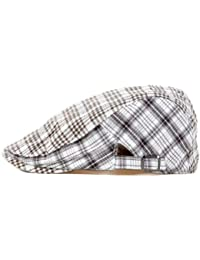 LOCOMO Grid Checker Check Plaid Tartan NewsboyFlat Beret Cap Hat Brown FFH028BRN