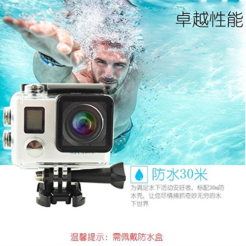 WiFi Action Camera 20 MP Underwater 30m 4K HD Sport Cam 170° Ultra Wide Angle Len 2.4G Remote Control Rechargeble Battery Mounting Accessories Kits for Bike Motorcycle Surfing Diving Swimming Skiing Climbing (silver)