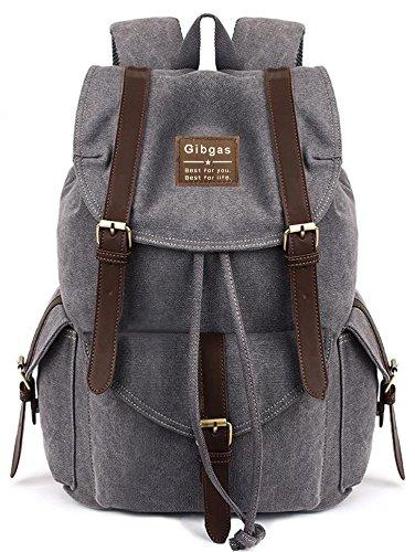 e962e61da352c Vintage Rucksack Herren Segeltuch Arbeit Damen Daypack Canvas Schulrucksack  Jungen 14-15.6 Zoll Laptoprucksack Für