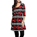 YWLINK Damen Weihnachtskleid Damen Weihnachten Hirsch Elch Print Partykleider Rockabilly(L,Rot)