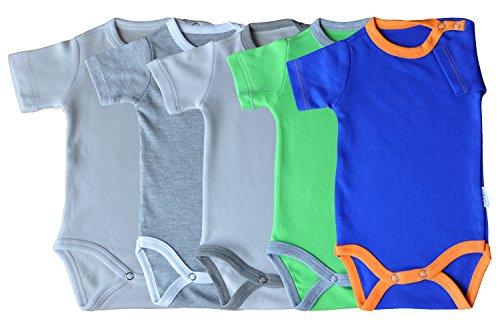 Kurzarm-Babybodys 5er Pack weiss, weiss/grau, grau/weiss, grün/grau & orange/blau Grösse 80 Body Unisex aus 100% Baumwolle mit Druckknöpfen