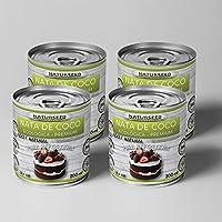 Naturseed - Nata de coco ecológica para cocinar 4x200ml, sin lactosa 100% natural. Nata Vegetal