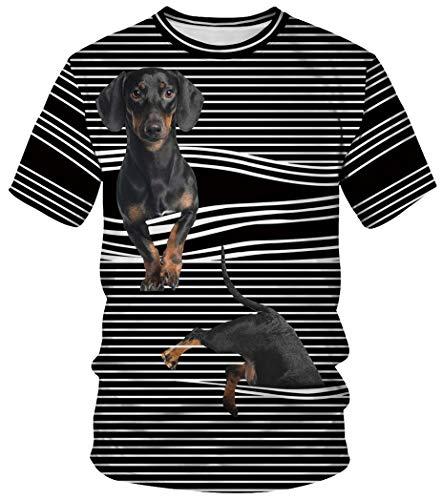 Ocean Plus Unisex Rundhals Sportswear T-Shirt Kostüm mit Aufdruck Fasching Größen S-3XL Tops mit Kurzarm (M (Referenzhöhe: 160-165 cm), Gummiband gestreifter Hund)