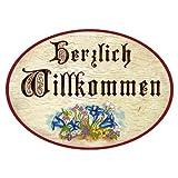 Kaltner Präsente Geschenkidee - Türschild Schild aus Holz im Antik Design HERZLICH WILLKOMMEN (Ø 9 cm)