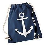 Turnbeutel Anker Hipster Beutel Tasche Anchor Jutebeutel Stringbag Beuteltasche Gym Bag Drawstring navy