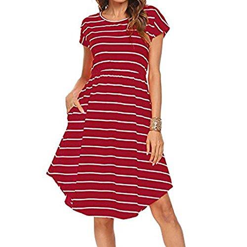 Yanhoo Sommerkleid Damen Knielang Casual Kurzarm Elastische Taille Gestreiftes Kleid mit Taschen Blusenkleid Frauen Streifen Rundhals Trägerkleid Tunikakleid Hemdkleid (L, Rot)