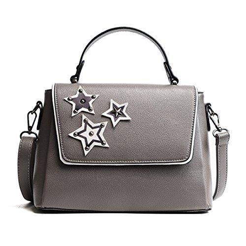 DHFUD Frauen Wild Solid Color Schulter Portable Messenger Bag Gray