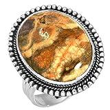 Solido 925 Sterling Argento Anello Naturale Riolite Pietra preziosa Moda Gioielli Dimensioni 20.25