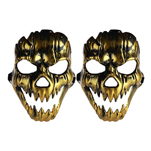Amosfun 2pcs Halloween Costumes Mask Scary Ghost Face Mask Cosplay Prop for Masquerade Halloween Party