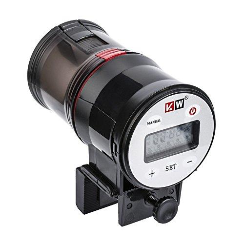 NICREW alimentador automático de Peces con Sistema de Ventilación y Ventilador Integrado y Botón de Encendido y Apagado, dispensador de Alimentos para Peces a Prueba de Humedad (Batería incluida)