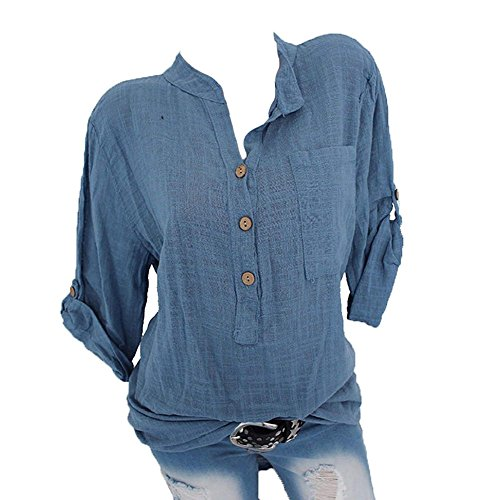 Hellomiko Frauen Casual V-Ausschnitt Shirt Plus Size Tops Cuffed Roll up Ärmel Lose Bluse