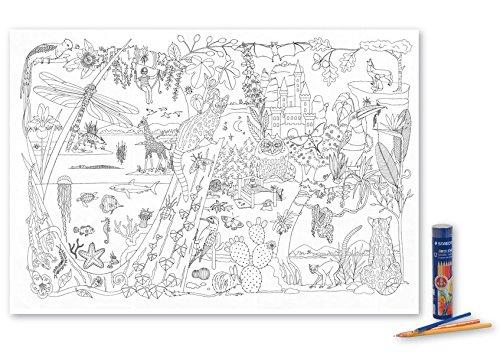Poster Malkarte Farbenreich: mit 12 hochwertigen Buntstiften in dekorativer Buntstiftdose