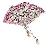 Acosta Rose Pink Swarovski Cristal-broche Broche  ouverture de ventilateur avec perles breloques-Dans une boîte cadeau