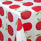 Wachstuch Tischdecke Gartentischdecke mit Fleecerücken Gartentischdecke, Pflegeleicht Schmutzabweisend Abwaschbar Äpfel Rot Weiss 120x 140 cm - Größe wählbar