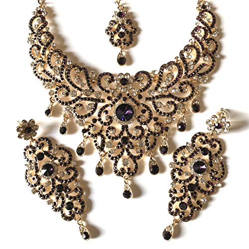 439d4c0524fa chamak Purple and Gold Bollywood Indian Inspired Crystal Studded Costume  Jewellery Set with Necklace Earrings and
