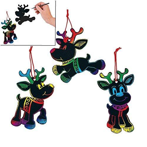 Magic Color Scratch Reindeer Christmas Ornaments (24