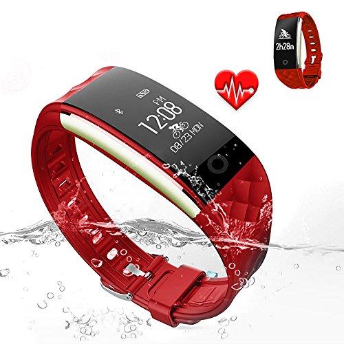 Jcotton Trackers d'activité Bluetooth Smart Watch IP67 Bracelet étanche étanche Cardiofréquencemètre Sports Wristband Fitness Tracker Multi-Sport Mode Health Monitor Podomètre Rappel Message pour IOS Téléphone Android(Rouge)