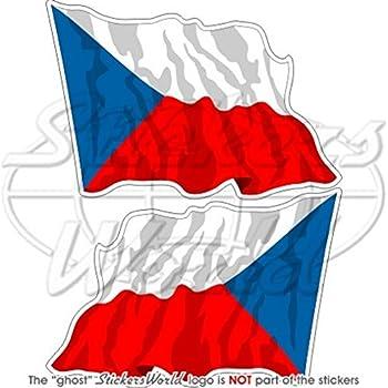 120/mm Agiter R/épublique Tch/èque drapeau Ceska 119,4/cm Stickers x2 Bumper en vinyle autocollants