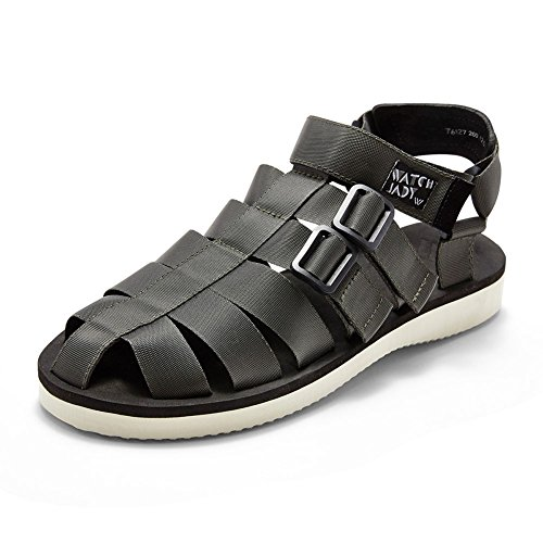 Kreative Sommer Sandale Strand Schuhe gewebt Gürtel Mann Pantoffel im Freien Schnalle Stil (38-43 Größe) (Farbe : Grau, größe : 41) - Armee Müdigkeit Hose