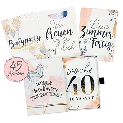 45 Meilensteinkarten für die Schwangerschaft mit hochwertiger Geschenkbox I Persönliches Geschenk-Set für Schwangere I Schwangerschaftstagebuch (Babybauch Bilder)