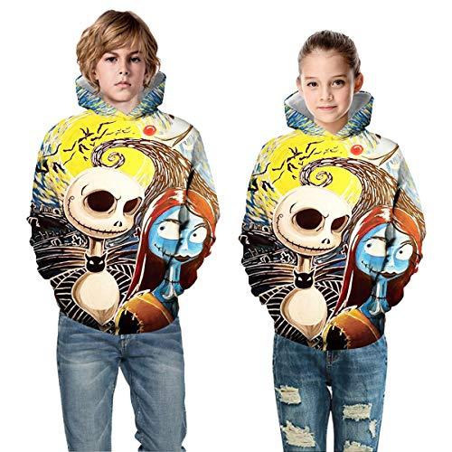 Leezeshaw Kinder 3D Halloween blutiger Totenkopf Bedruckt Kapuzenpullover Sweatshirt Gruselmuster Pullover Kostüm Hoodie mit Kängurutasche XS-XL Gr. XL, Jack and - Sally Kostüm Muster