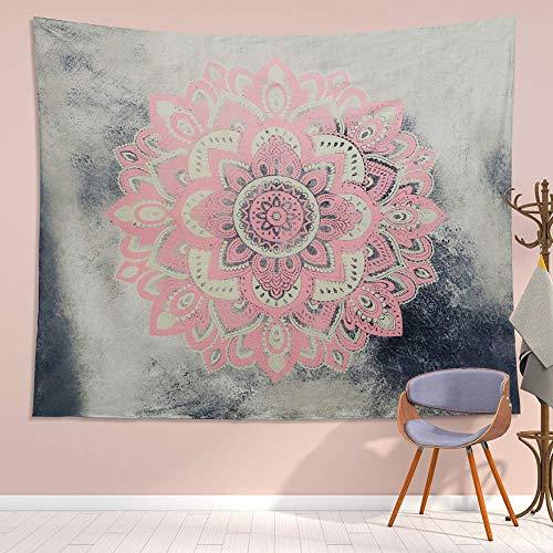 Rjjdd Tapisserie Mandala Wandbehang Dekor Rosa Grau Indian Hippie Böhmische Blume Tapiz Pared Tela Dekoration Böhmische Decke Raum Schlafzimmer 130X150cm