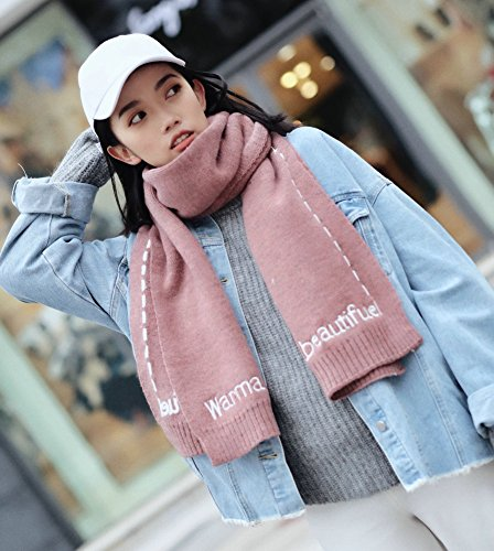 c75c664809bf Student Female Autumn and Winter Fashion Imitation Cashmere Letters  Aircraft Pure Color Scarf Warm Embroidery Collar