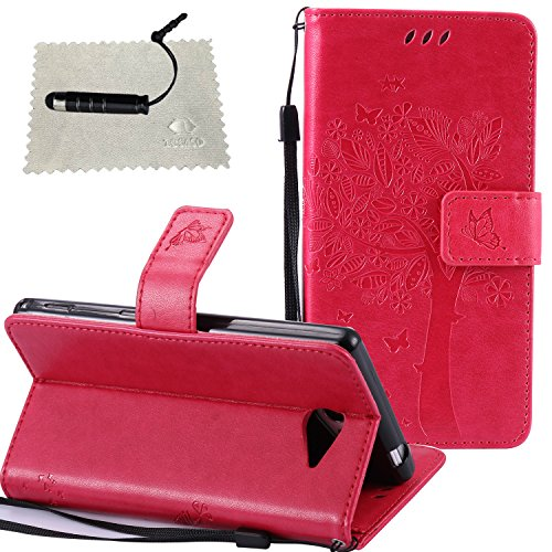 coque-sony-xperia-m2-se-leva-rougecover-sony-xperia-m2-leathertocaso-mince-doux-pu-leather-embossed-