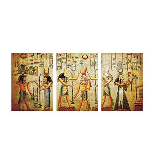 MagiDeal Juego de 3/5 Piezas Pintura al óleo Cuadro de Lona Sin Enmarcada Colgante Decoración de Arte de Pared Adornos Casero - # 2 Egipcio L