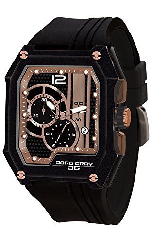 Jorg Gray Men's Quartz Watch with Gold Dial Chronograph Display and Black Rubber Strap JG7100-21