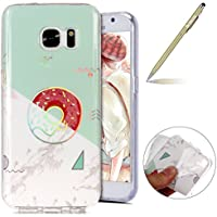 Herbests Funda Samsung Galaxy S7, Carcasa Samsung Galaxy S7 Ultrafina TPU Gel Protector Flexible Cover Funda Samsung Galaxy S7 Carcasa Alta Calidad IMD Láser Diseño Colorido Mármol Series Glitter Brillante Funda Silicona Carcasa Ultra Slim Transparente Crystal Clear Soft TPU Silicone Back Bumper Case Cover Goma Funda Anti-Golpes Anti-Rasguño Antideslizante Protección Carcasa TPU Silicona Case para Samsung Galaxy S7 con 1 x Bolígrafo, Mármol Rosquilla