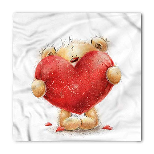 Bear Bandana, Romantic Mascot Red Heart, Unisex Head and Neck Tie, Printed Unisex Bandana Head and Neck Tie Scarf Headband, Multicolor S 60x60cm -