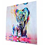 Livecity Multicolor Elephant Pattern Canvas Painting Frameless Pictures Living Room Decor (60cmX60cm)