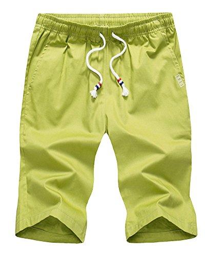 Herren Multi-Tasche Elastizität Taille Cargo Shorts Drawstring Einfarbig Beach Shorts Style 1 XL (Trainingshose Drawstring-tasche)