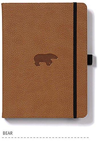 Dingbats* Wildlife A5 Notizbuch - PU-Leder, Perforiert 100gr/m² Creme Seiten, Innentasche, Elastisch, Stifthalter (Kariert, Braun)