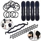 VAGA Haar Styling Kit von Bun Entscheidungsträger wickelschablonen Donuts Twistern Donuts Verdrehen Tools, Flechter Zöpfe Shaper Flechten Gerät und Haarbänder Bands Haargummis Pferdeschwanz Inhaber