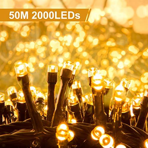 Quntis 50 m 2000 LED Lichterkette Warmweiß, Innen- und Außenbeleuchtung mit Stecker, 8 Modi,...