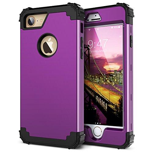 WE LOVE CASE iPhone 7 Coque, Étui de Protection en Premium Hard Plastique Dur Housse Mince et Clair, 2 in 1 Bumper Anti-Rayures Cas Couverture Anti-dérapante Coque pour Apple iPhone 7 - Or Rose violet
