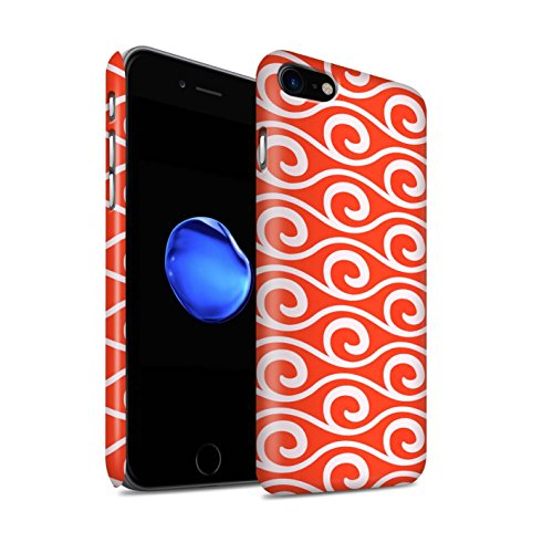 STUFF4 Matte Snap-On Hülle / Case für Apple iPhone 8 / Grün Muster / Wellenmuster Kollektion Rot