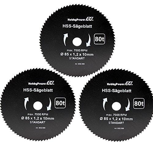 Mini Handkreissäge 3er-Set Sägeblatt Holz Fein Ø85x10x1,2mm für Skil 5330 AA