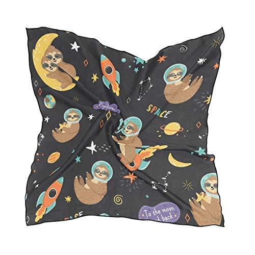 DOSHINE Space Funny Faultier Star Planet Seide Schal, leicht, weich, transparent, für Damen und Mädchen Planet Seide