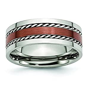 Stainless Steel Chocolate IP Plated 8mm Band Ring - Size P 1/2