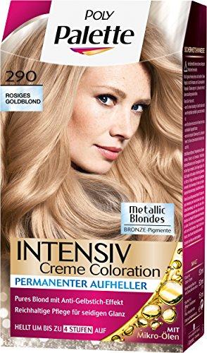 Palette Intensiv Creme Coloration, 290 Rosiges Goldblond Stufe 3, 3er Pack (3 x 115 ml) (Palette Rose)