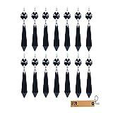 H&D 55 mm Kristall Eiszapfen Anhänger mit Schmetterling Schließe Kronleuchter Prismen zum Aufhängen Hochzeit Christmas Garland (Pack von 10 & 25), schwarz, 25 Teile