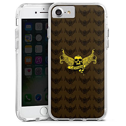 Apple iPhone 7 Bumper Hülle Bumper Case Glitzer Hülle Gold Skull Nevermind Bumper Case transparent