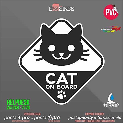 [ERREINGE] STICKER SAGOMATO 14cm - Cat on Board Gatto a Bordo - Adesivo Decal Decalcolmania Vinile Murale Laptop Auto Moto Casco Camper