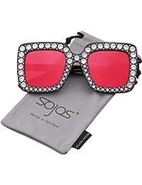 SOJOS Steampunk Ovale Sonnenbrille Schlank Kleine Metall Rahmen Unisex SJ1084 mit Gold Rahmen/Rot Linse kQPpi