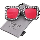 SOJOS Vogue Occhiali da Sole Donna Quadrari Oversize Cristalli Scintillante SJ2053 con Nero Telaio/Rosso Specchio Lente