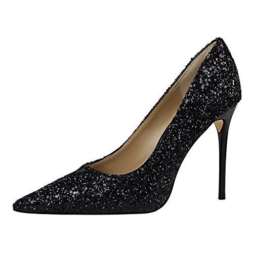 AalarDom Femme Couleur Unie à Talon Correct Pointu Tire Chaussures Légeresavec Paillette Noir